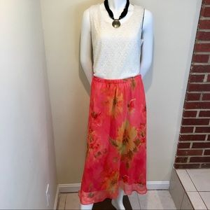 Vintage 80's Floral Skirt Elastic Waist Size 20W